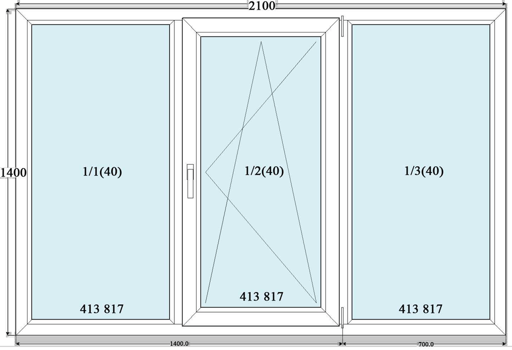 Пластиковое окно трехстворчатое